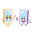 cartoon mobile phone characters wearing vector image vector image