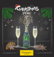 chalk drawing holiday christmas champagne glasses vector image