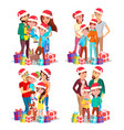 christmas family portrait set parents vector image