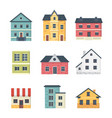 collection of suburban private houses house vector image vector image