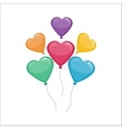Color glossy hearts balloons vector image vector image