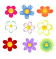 colorful cute flowers on white background vector image vector image