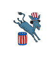 Democrat Donkey Mascot Jumping Over Barrel Cartoon vector image vector image