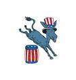 Democrat Donkey Mascot Jumping Over Barrel Cartoon vector image vector image