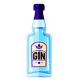 dry gin blue bottle alcohol drink flat vector image