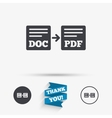 Export DOC to PDF icon File document symbol vector image vector image