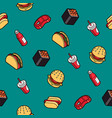 fast food outline color isometric pattern vector image vector image