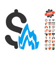 fire disaster icon with lovely bonus vector image vector image
