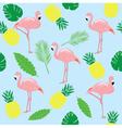 flamingos pink palms vector image vector image