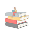 flat adult man reading book at pile vector image