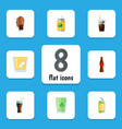 flat icon drink set of cup cola drink and other vector image