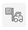 forklift icon black vector image vector image