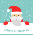 greeting card with santa claus and falling snow vector image vector image