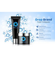 hand cream black tube bottle blue drop background vector image vector image