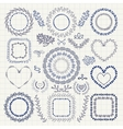 Hand Drawn Floral Frames Borders Wreaths vector image vector image