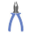 hexagon halftone pliers icon vector image