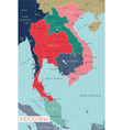 indochina detailed editable map vector image vector image