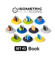 Isometric flat icons set 43 vector image