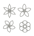 Jasmine Flower Icons Set on White Background vector image