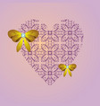 lilac heart with a yellow bow vector image vector image