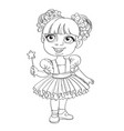 little girl in ballet tutu and magic wand outlined vector image