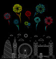 london city and color celebration fireworks vector image