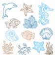 marine life doodles vector image