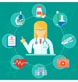 medical concept woman doctor icons vector image vector image