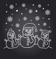 new year chalkboard card with the family of snowme vector image