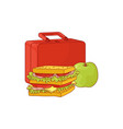 plastic lunchbox with sandwich and apple for vector image