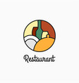 restaurant logo with wine glass and plate vector image vector image