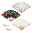 set hand fans vector image vector image