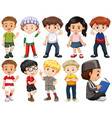 set happy children in different costume vector image vector image