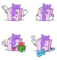 set of gift character with successful smirking vector image vector image