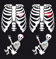 Skeleton baby boy and girl set vector image vector image