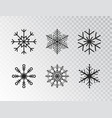snowflakes collection isolated on transparent vector image