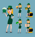 st patricks day woman in costume of leprechaun vector image
