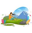 tourist taking photo mountain landscape vector image vector image