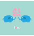 Two elephant with heart fountan love flat vector image