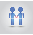 Two male stick figures standing beside each other vector image vector image