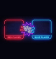 versus neon banner with square frames screen vector image
