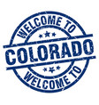 welcome to colorado blue stamp vector image vector image