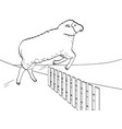 white background black lines the sheep jumps vector image vector image