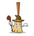 witch broom character cartoon style vector image vector image