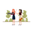 women with musical instruments in landscape vector image vector image