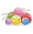 ball of wool doodle watercolor vector image