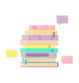 books pile and bookmark with speech bubbles vector image