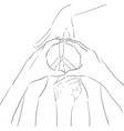 contour of human hands and sign of vector image