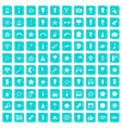 100 light icons set grunge blue vector image vector image