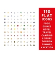 110 flat icons vector image vector image